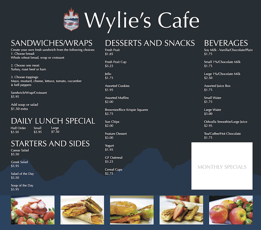 Wylie's Cafe Menu